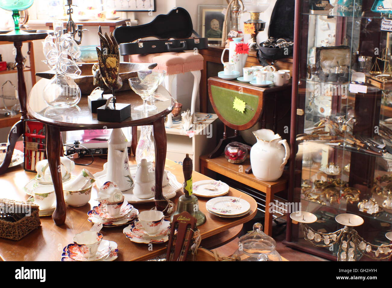 An eclectic mix of items on sale in The Vaults, a vintage, shabby chic and craft centre in Sheffield Antiques Quarter - Stock Image