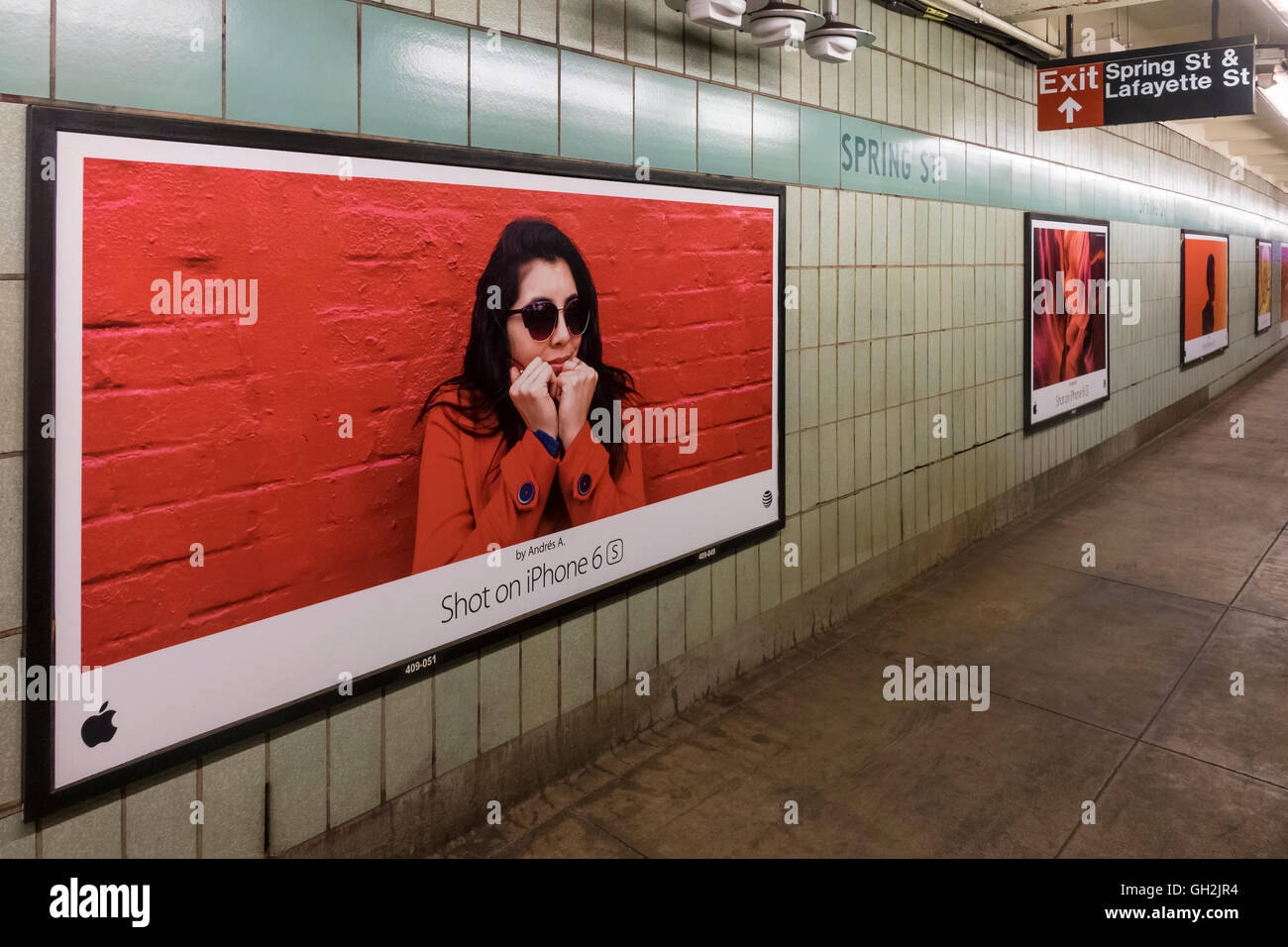 A series of poster size ads for Apple iPhone 6 S - Stock Image