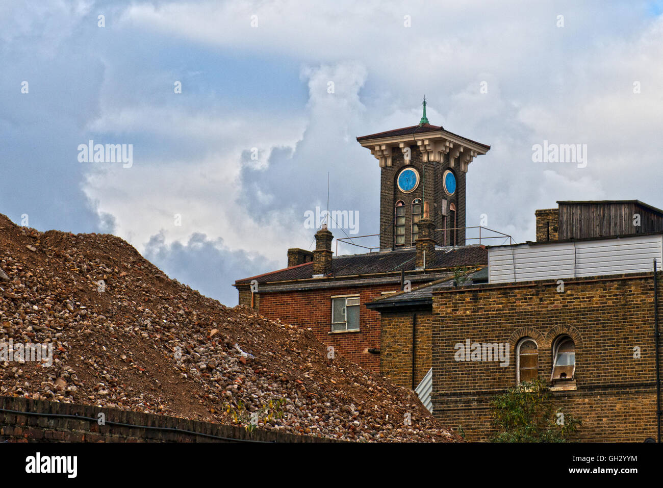 The old workhouse section now demolished at St Clements Hospital in London's East End before the major redevelopment. - Stock Image