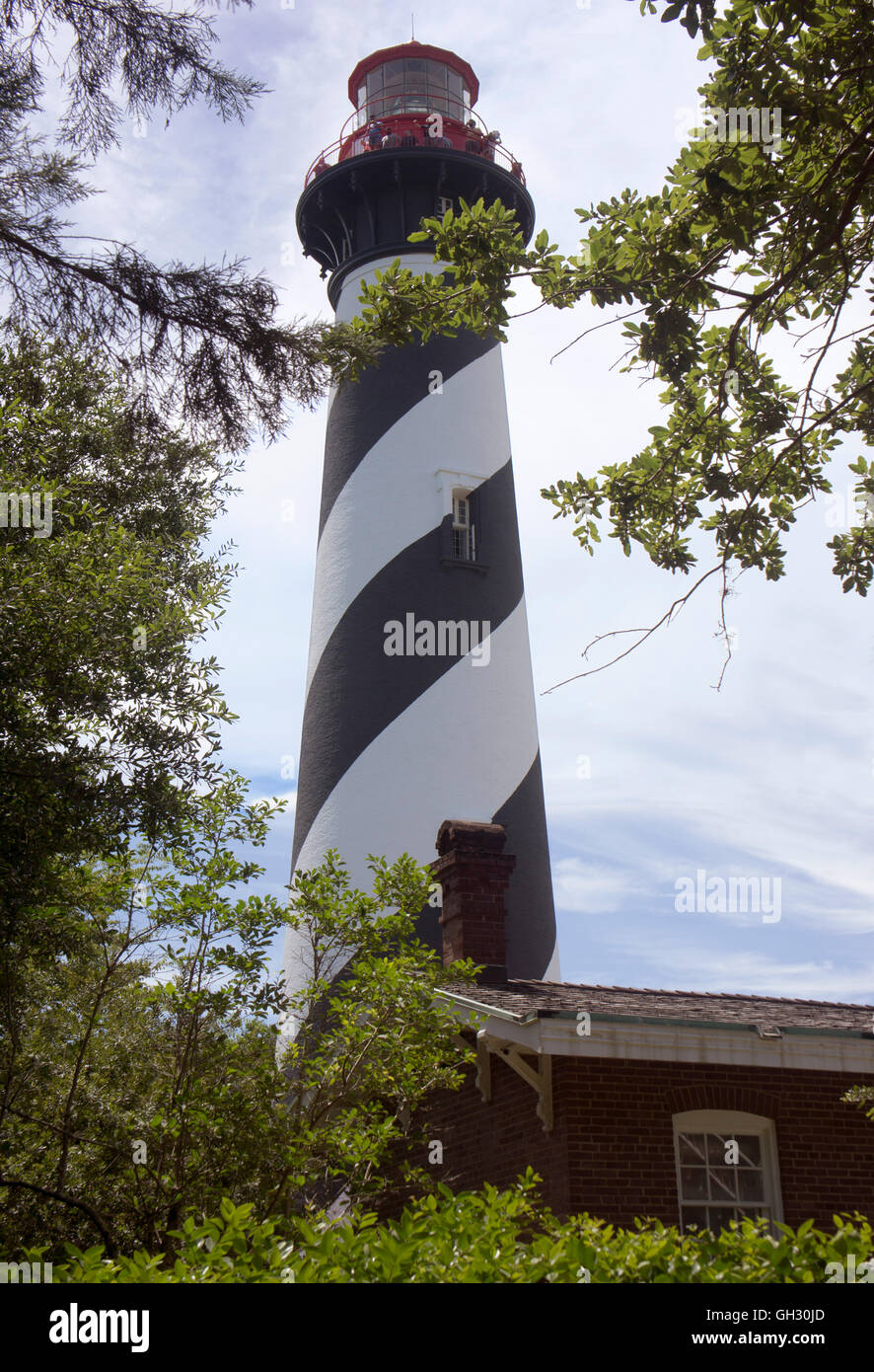 St. Augustine lighthouse, in Anastasia State Park, St. Augustine, Florida. - Stock Image