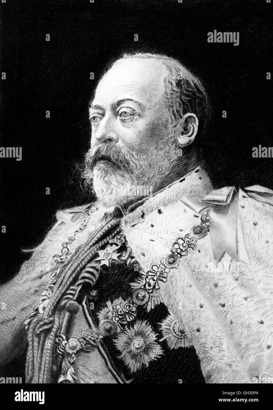 Edward VII  (1841-1910), who reigned as king of Great Britain from 1901 until his death in 1910.  Etching by Franz Stock Photo