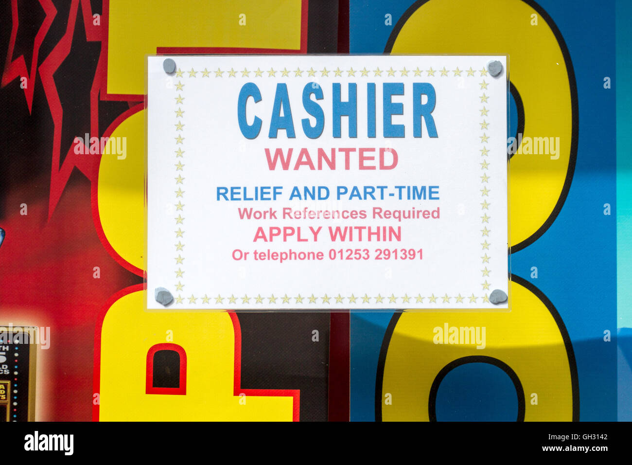 Cashier Wanted_ Relief and Part-Time, Apply Within, - Stock Image