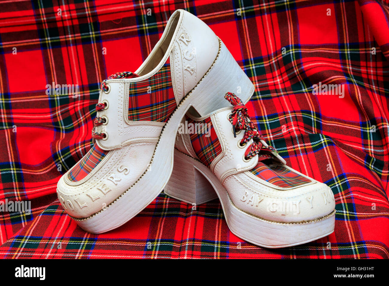 'Used' pair of 'Bay City Rollers' fashion shoes, from 1970's. bay City Rollers was a Scottish - Stock Image