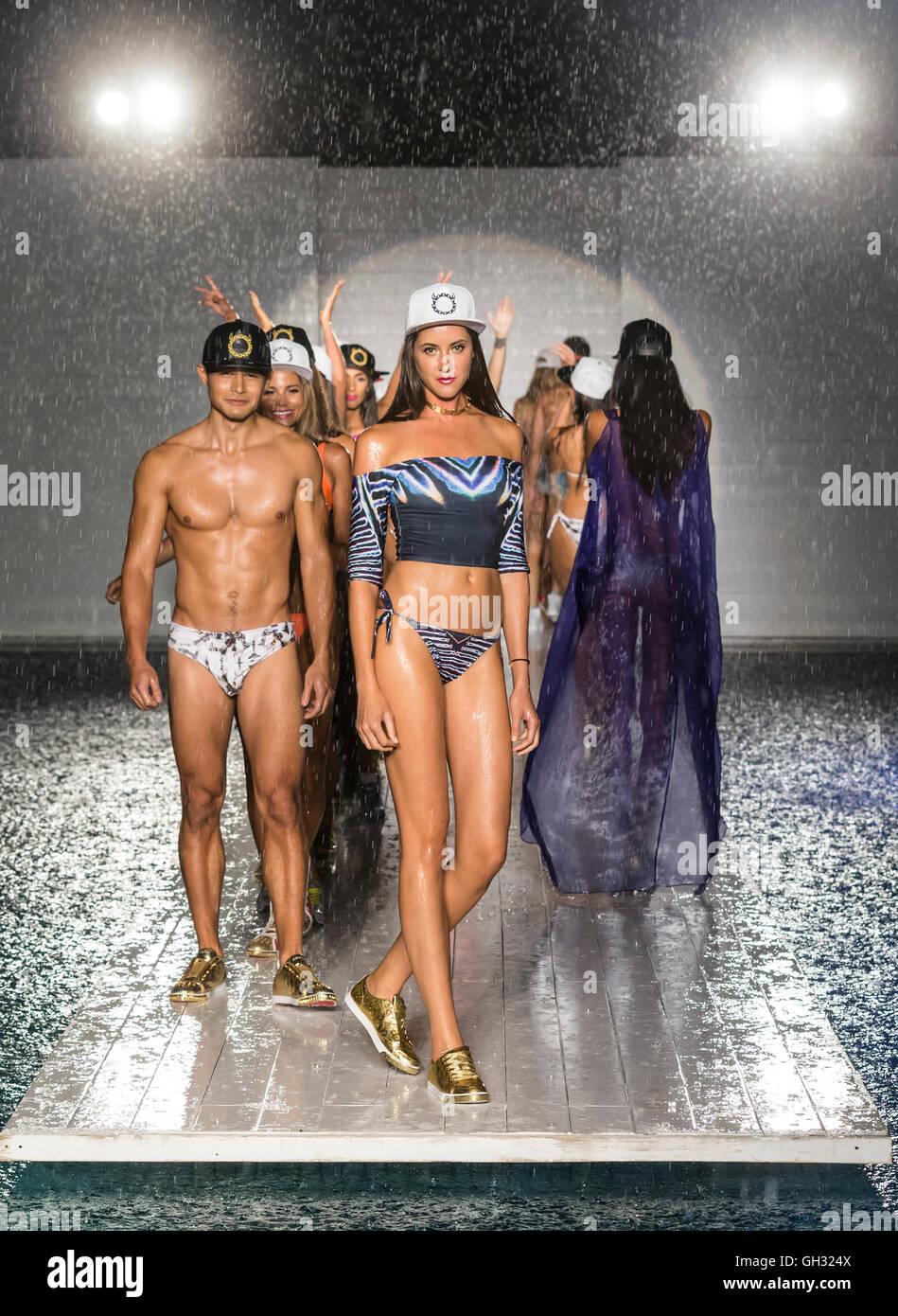 MIAMI BEACH, FL - JULY 15, 2016: Models walk the runway wearing Lila Nikole X Kruzin 2017 Collection at SwimMiami - Stock Image