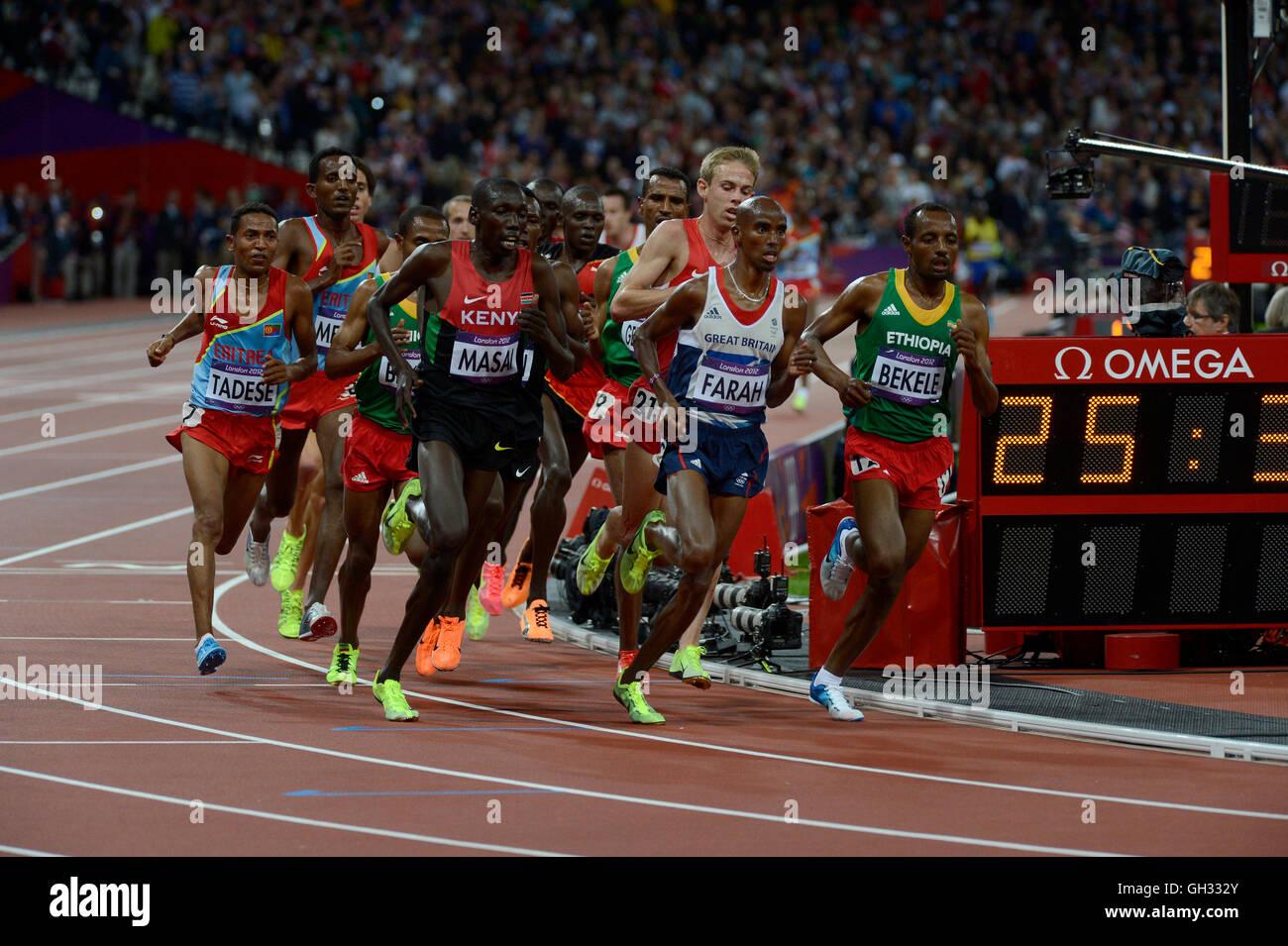 London 2012  - Olympics:   Athletics - Men's 10,000 Meter final.  Mohamed Farah of Great Britain winning the - Stock Image