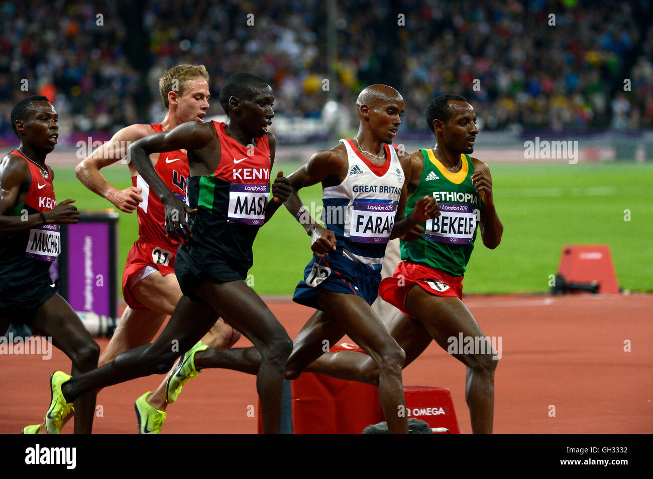 London 2012  - Olympics:   Athletics - Men's 10,000 Meter final.  Mohamed Farah of Great Britain winning the - Stock Image