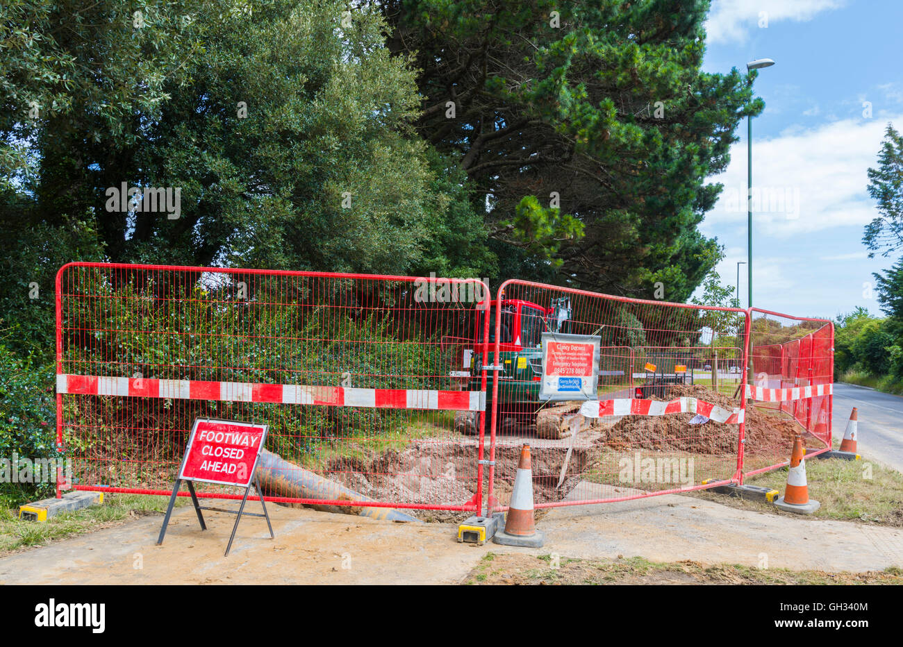 Pavement blocked due to works taking place. - Stock Image