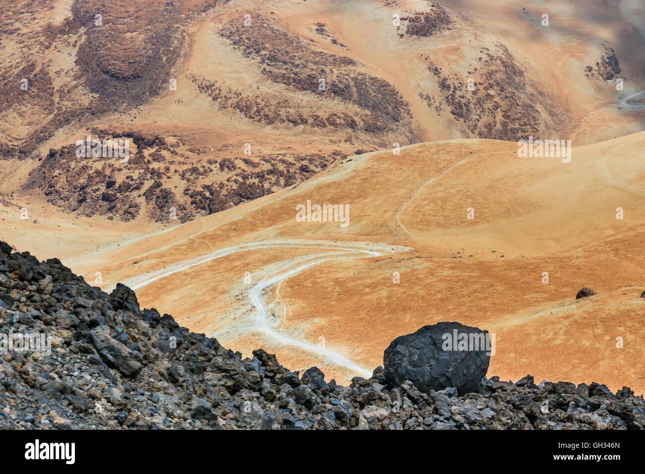 Volcanic bombs on Volcanic bombs on Montana Blanca, Teide National Park, Tenerife, Canary Islands, Spain, shalow - Stock Image