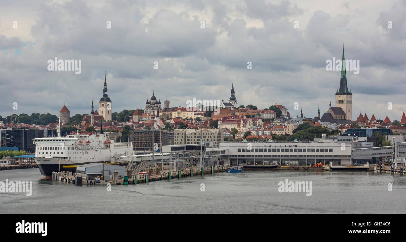 Old city Tallinn from Baltic sea - Stock Image