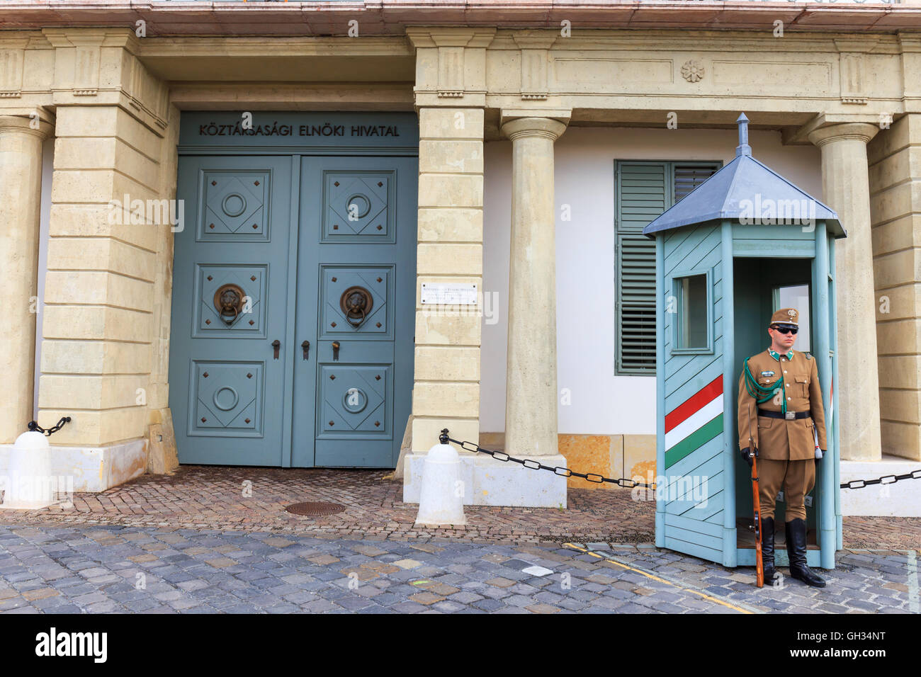 BUDAPEST, HUNGARY - JULY 24, 2014 : Ceremonial guard at the Presidential Palace. They guard the entrance of the Stock Photo