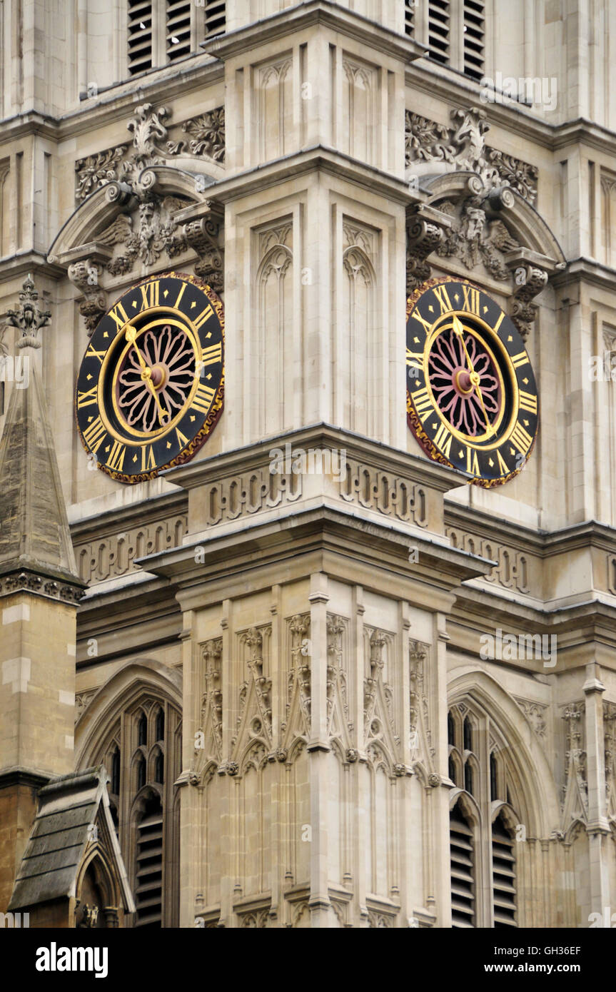 geography / travel, Great Britain, clock at tower from Westminster Abbey, coronation church and burial place of - Stock Image
