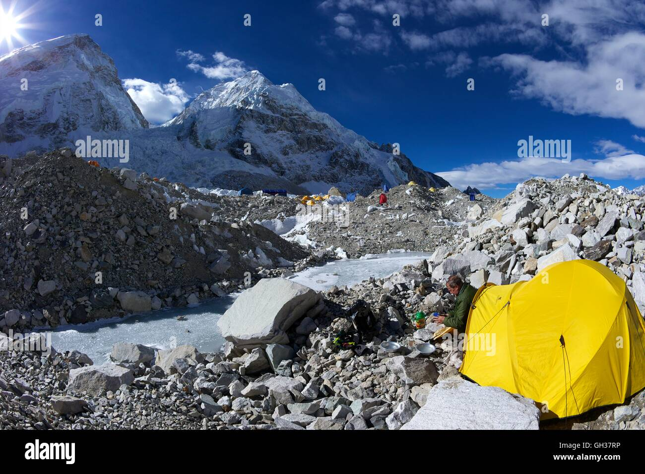 Camping on the Khumbu icefall at Everest Base Camp, Sagarmatha National Park, Solukhumbu District, Nepal, Asia - Stock Image