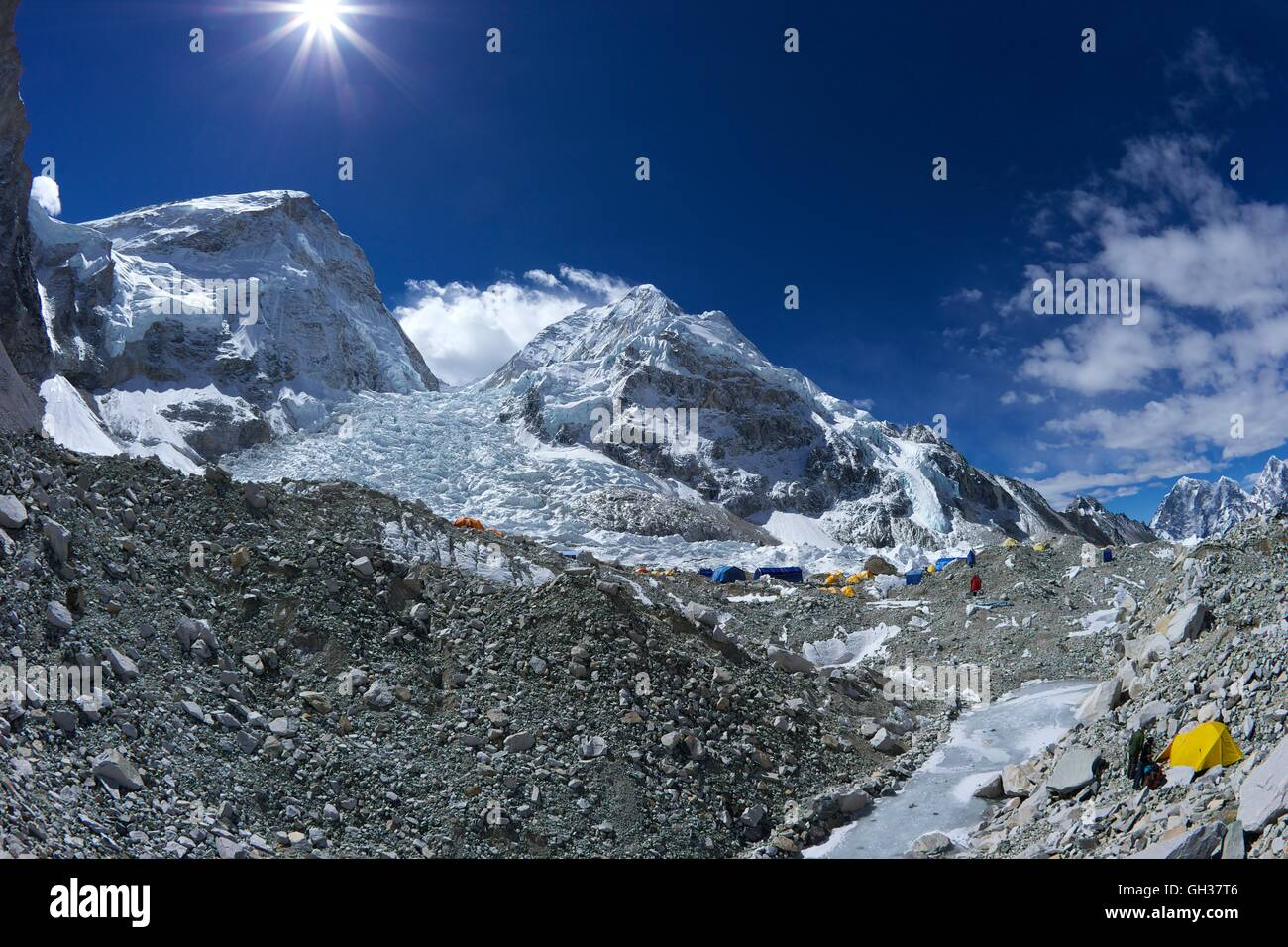 Khumbu icefall from Everest Base Camp, Sagarmatha National Park, Solukhumbu District, Nepal, Asia - Stock Image