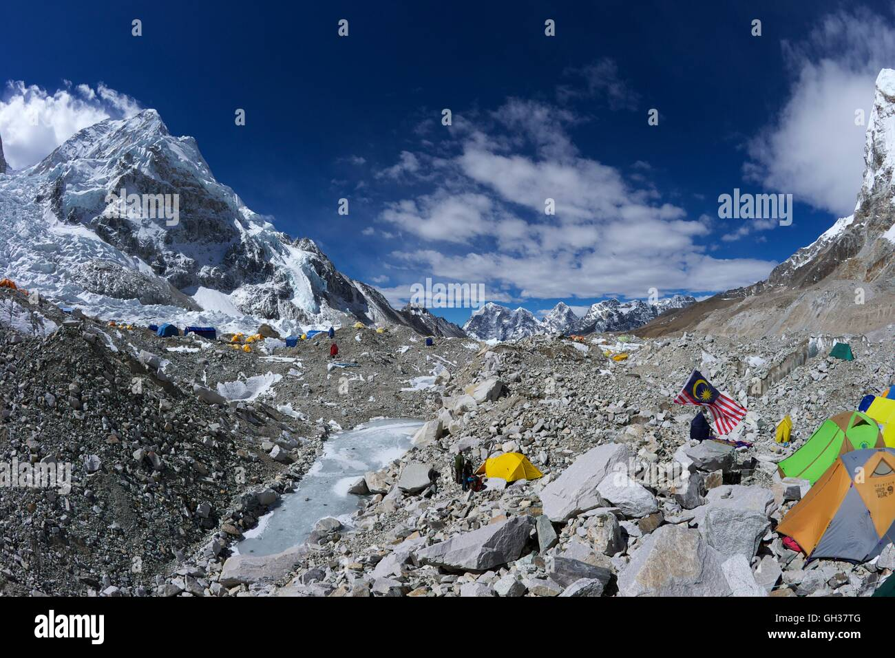Khumbu icefall from Everest Base Camp, Sagarmatha National Park, Solukhumbu District, Nepal, Asia - Stock Image
