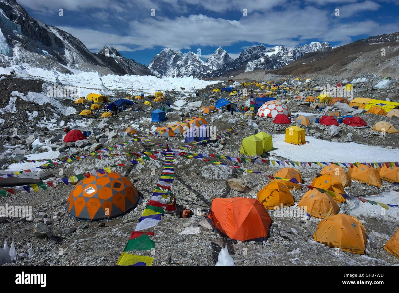 Looking south across Khumbu glacier from Everest Base Camp, Sagarmatha National Park, Solukhumbu District, Nepal, - Stock Image