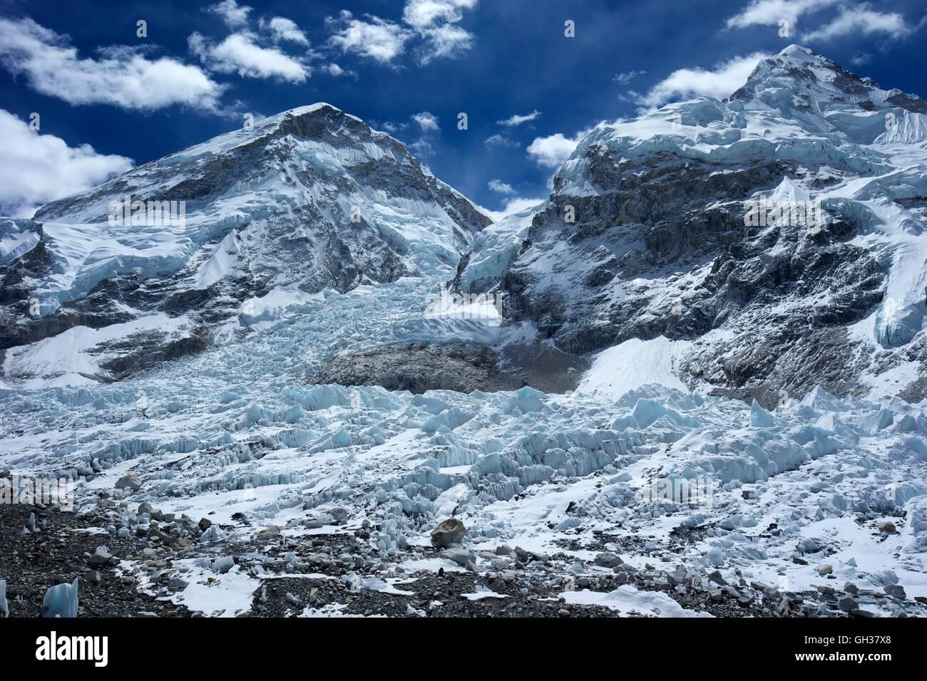 Nuptse, Khumbu icefall and glacier from Everest Base Camp, Sagarmatha National Park, Solukhumbu District, Nepal, - Stock Image