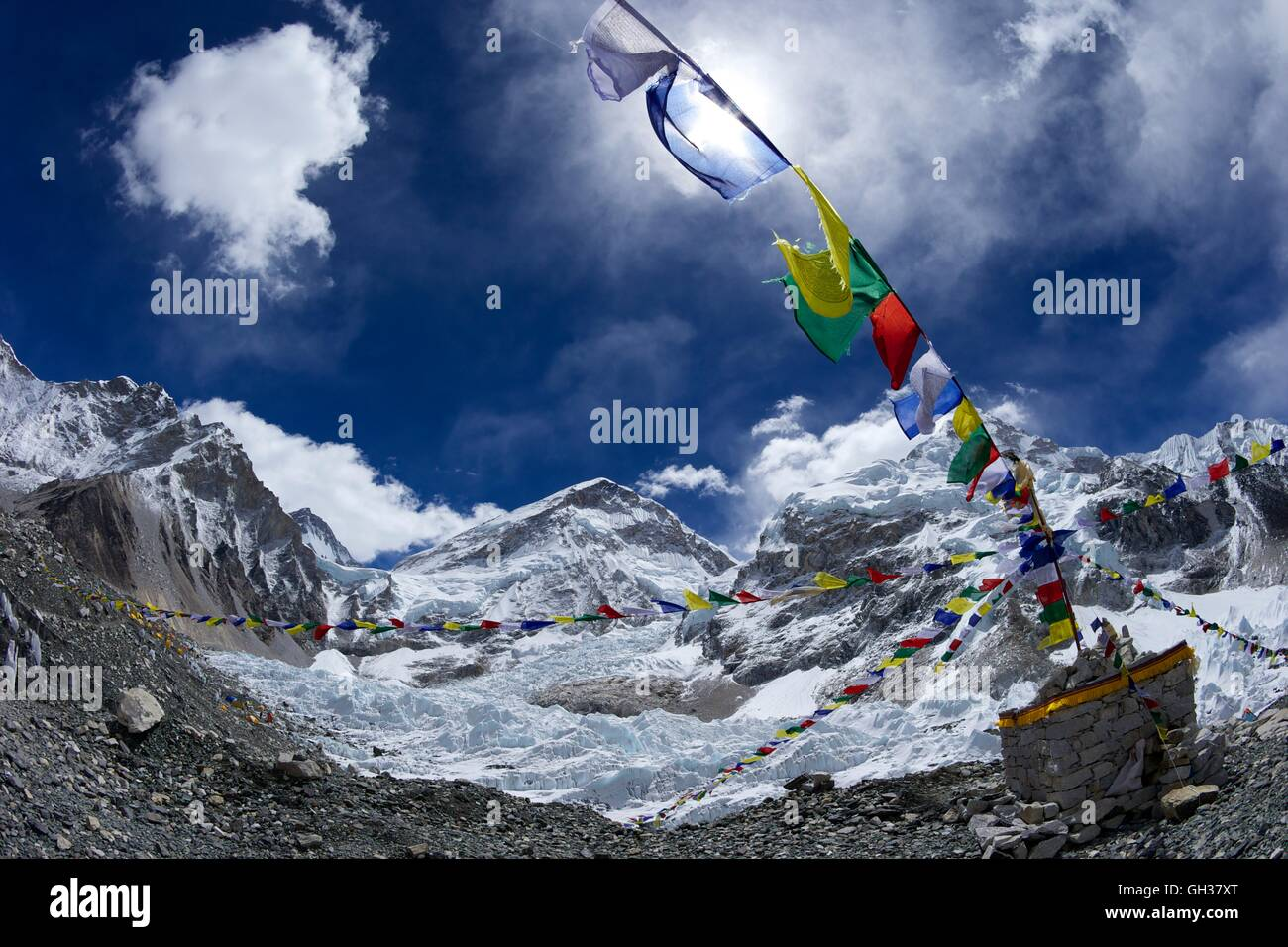 Khumbu icefall and glacier from Everest Base Camp, Sagarmatha National Park, Solukhumbu District, Nepal, Asia - Stock Image