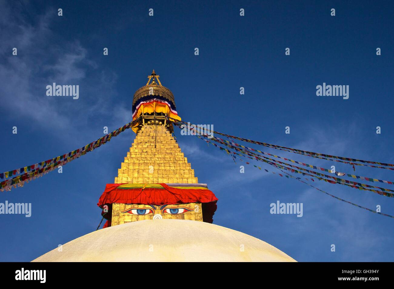 All seeing eyes of the Buddha, Boudhanath Stupa, Kathmandu, Nepal, Asia - Stock Image