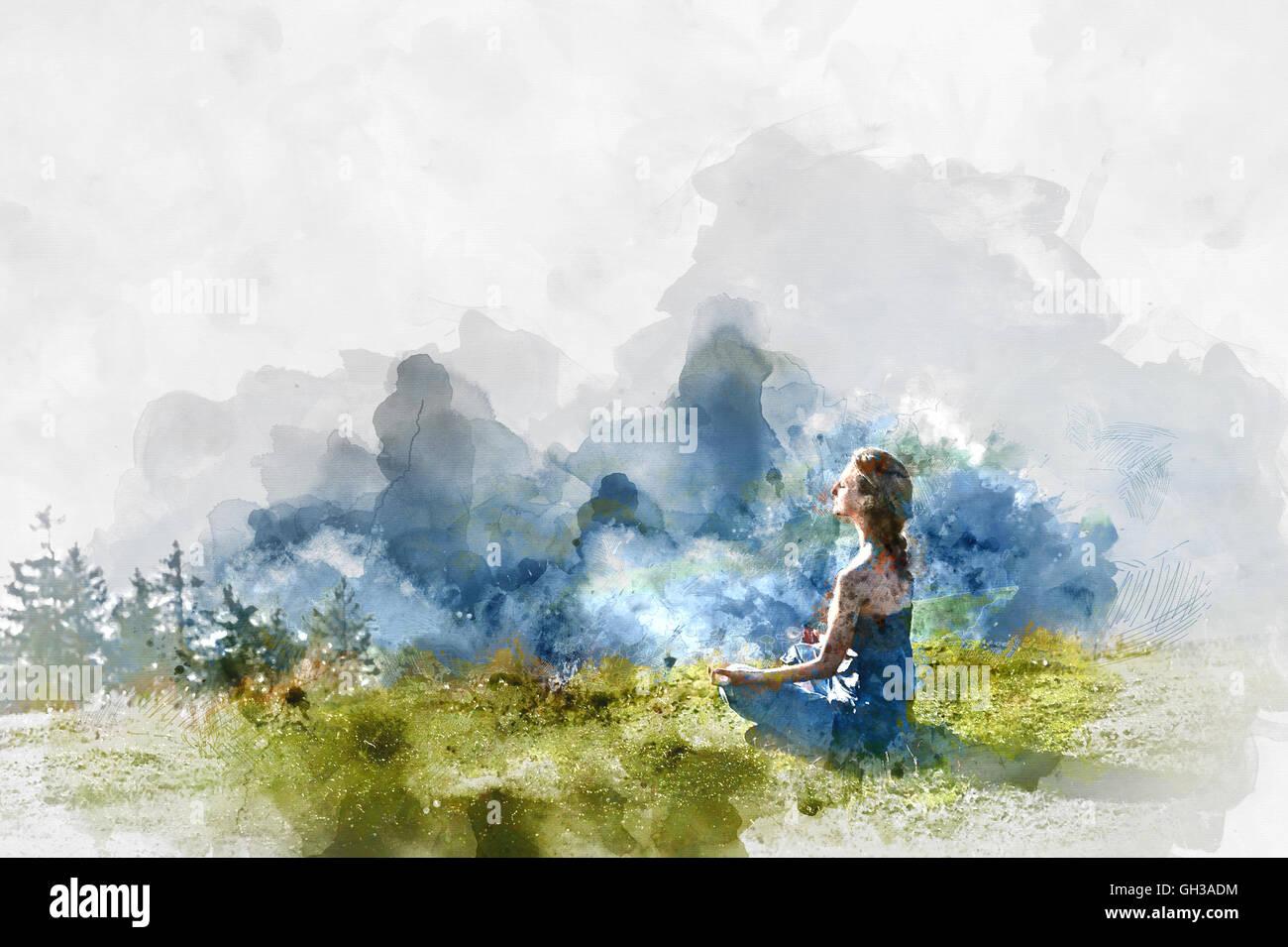 Young woman practice yoga stock image