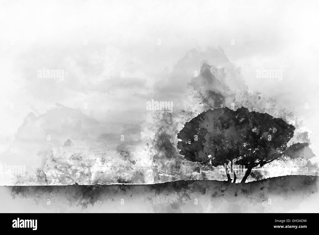 Silhouette of a tree. Digital watercolor monochrome painting - Stock Image
