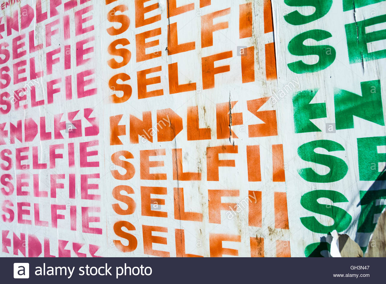 London, England, UK: Endless Selfies poster on a wall in Southwark, London, UK - Stock Image