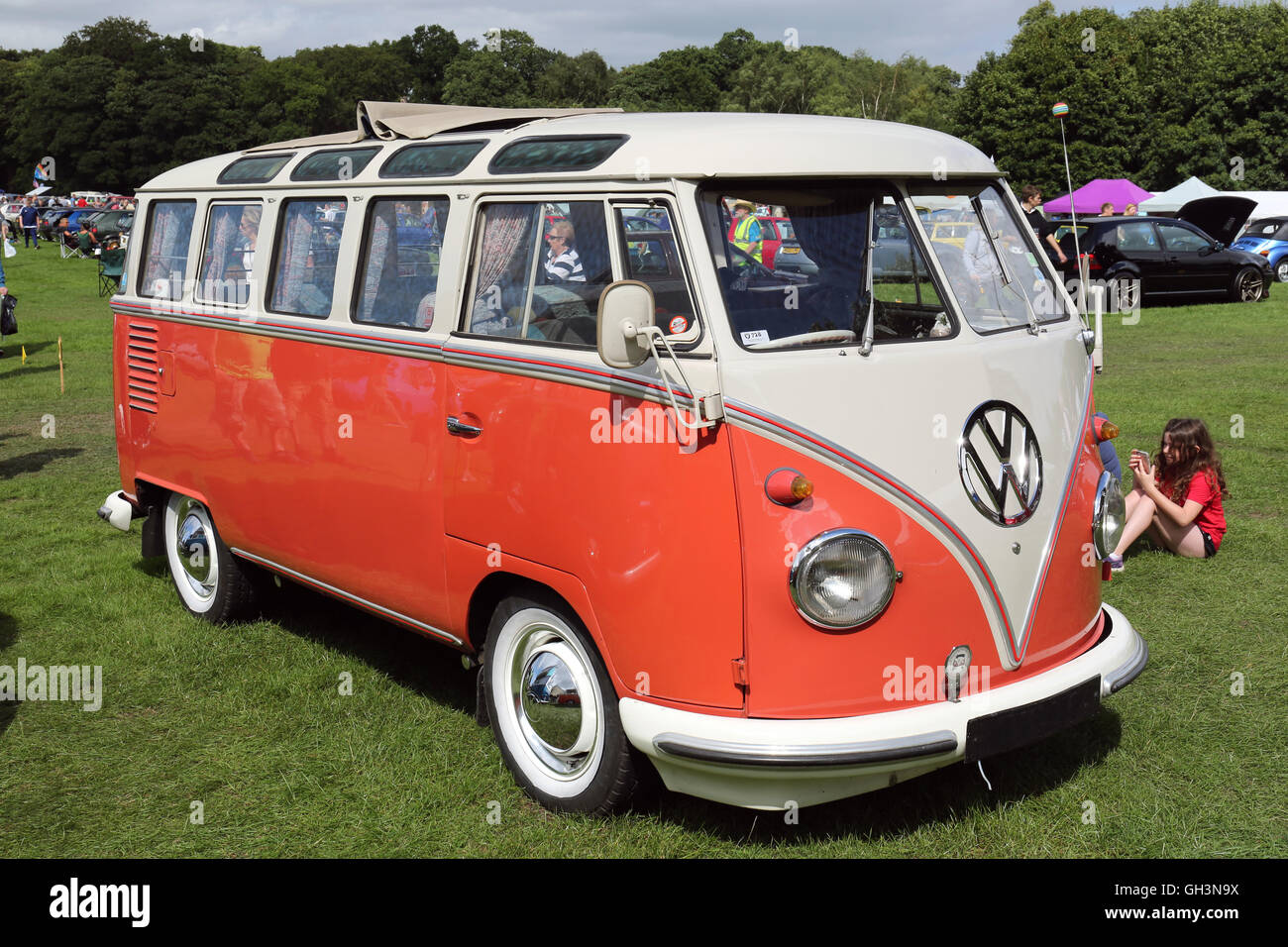 Volkswagen Samba bus  at Tatton park Vw show - Stock Image