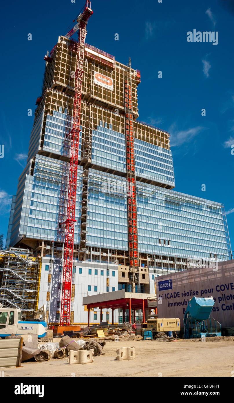 """Paris, France, Construction SIte, New French Court House Building, """"Palais de justice de Paris"""", Porte de Clichy (Credit Arch: Renzo Piano Workshop) new build Stock Photo"""
