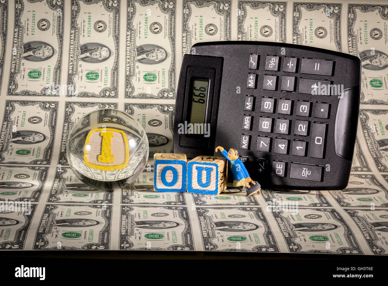 Calculator Words Stock Photos Images Alamy Circuitry Of An Electronic Royalty Free Photography Devil Number On And The Iou Image