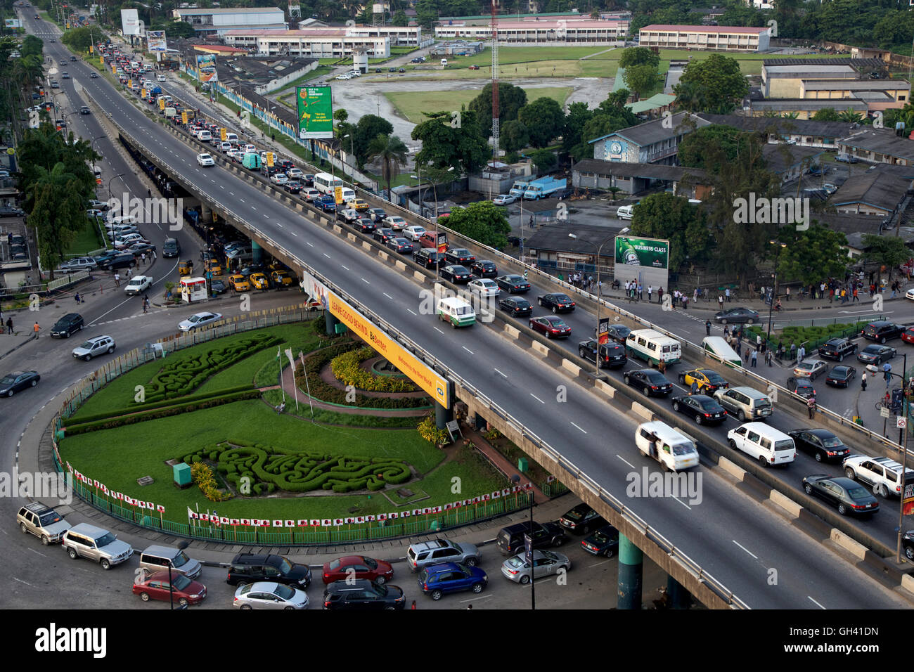 Lagos vehicular traffic at close of day's business - Stock Image