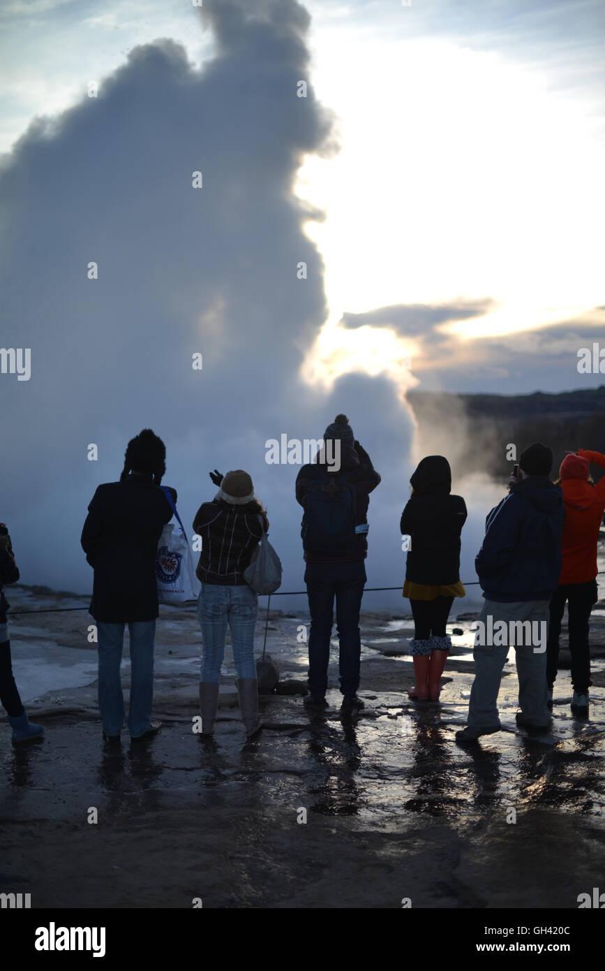 Icelandic Geysir erupting - Iceland Travel - Stock Image