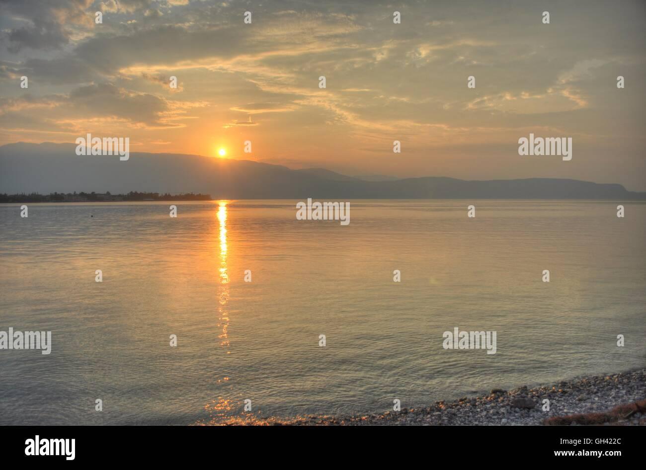 Sunrise over Lake Garda - Italy. - Stock Image