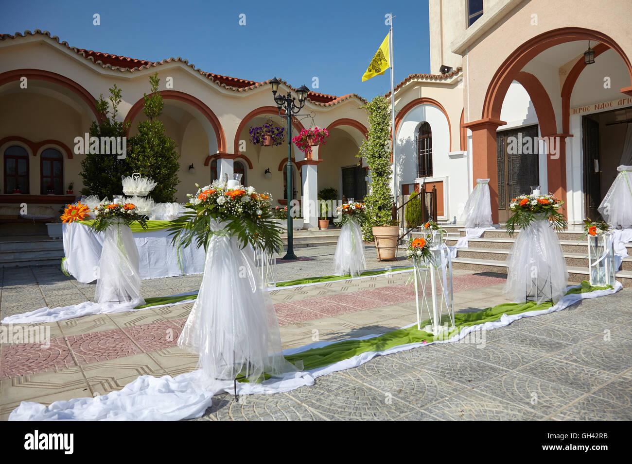 Outdoor Wedding Decoration Of Orthodox Church Stock Photo