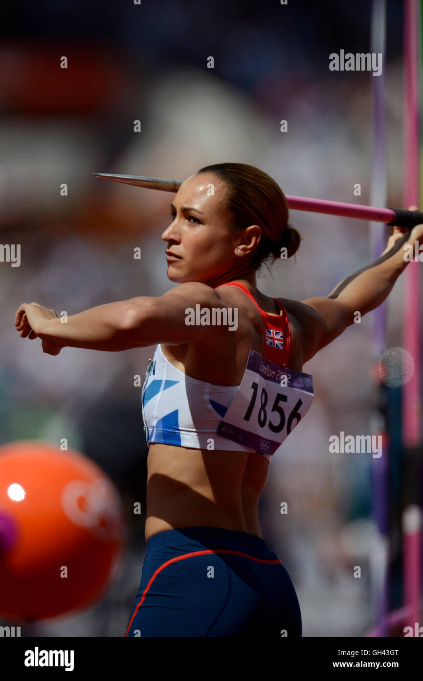 Jessica Ennis of Great Britain preparing to throw the javelin on her way to winning the gold medal in the Heptathlon - Stock Image