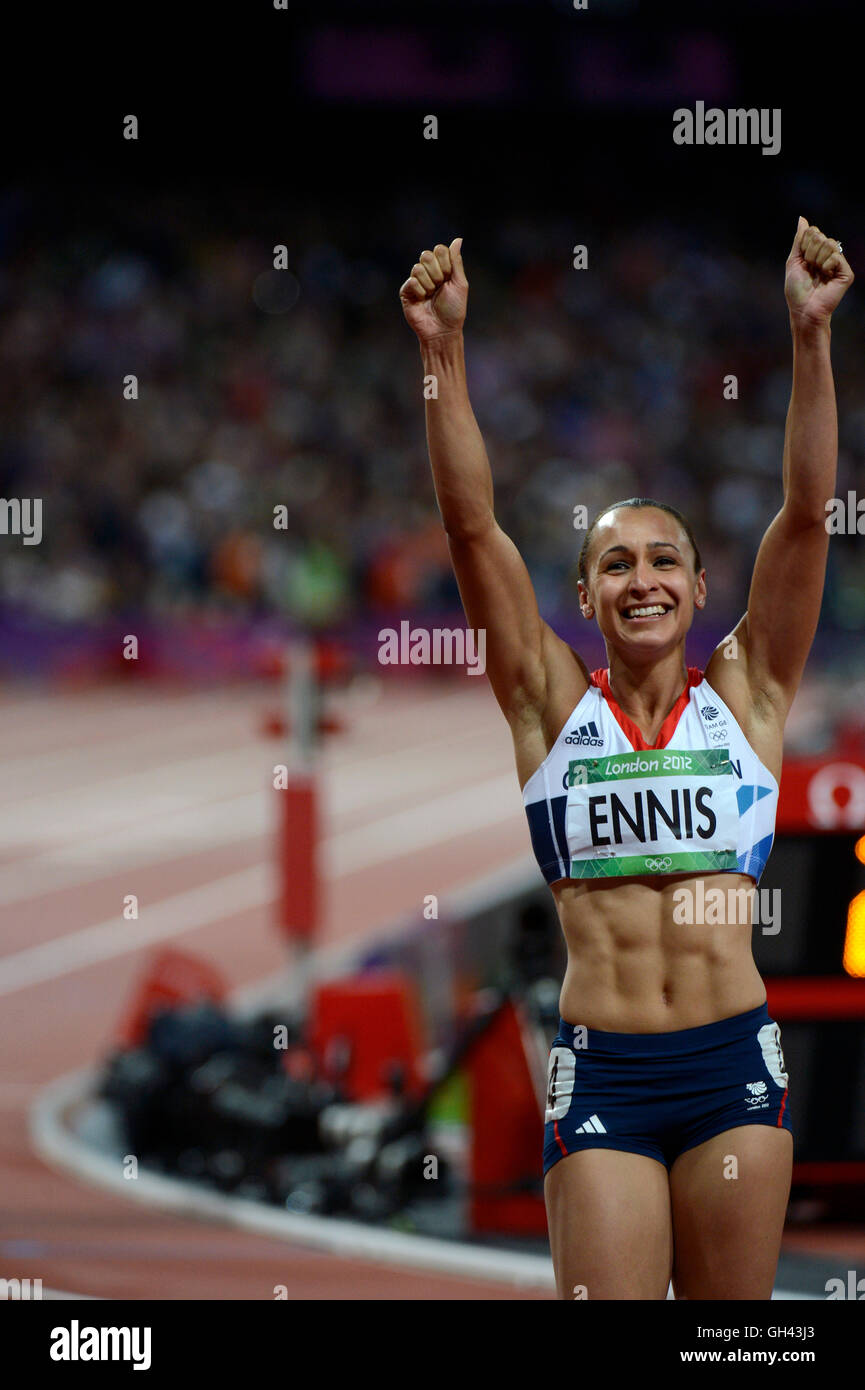 Jessica Ennis of Great Britain after winning the gold medal in the Heptathlon during the London Olympics. - Stock Image