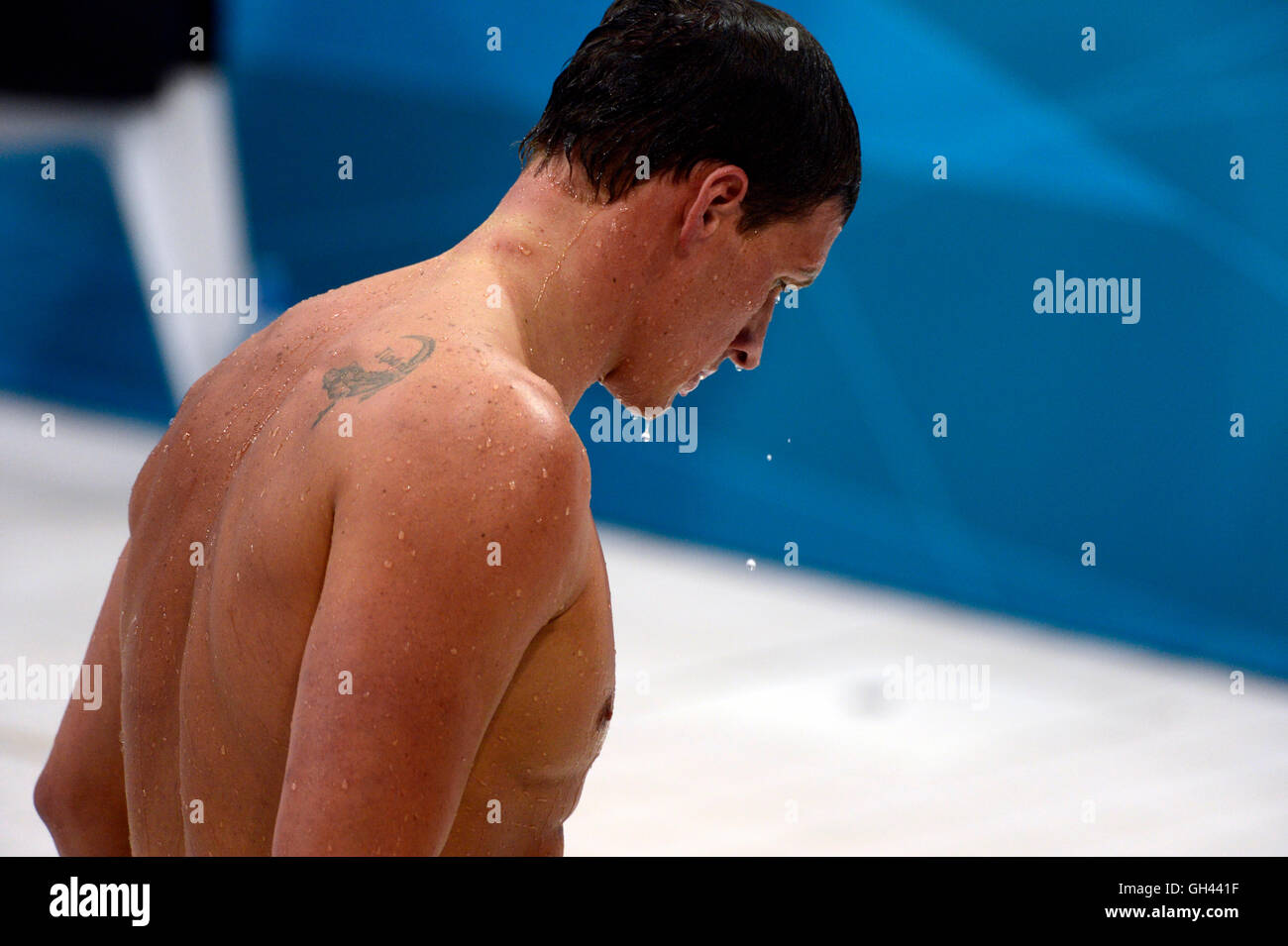 London 2012  - Olympics:   Swimming.  Men's 200 Meter Freestyle - Final.     Ryan Lochte of the USA after finishing - Stock Image