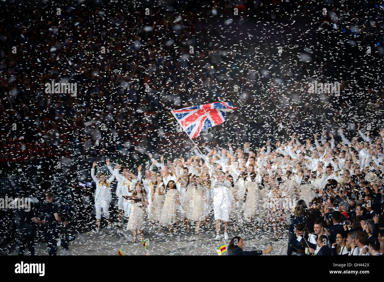 Great Britain team entering the Olympic Stadium during the Opening Ceremonies of the London Olympics. - Stock Image