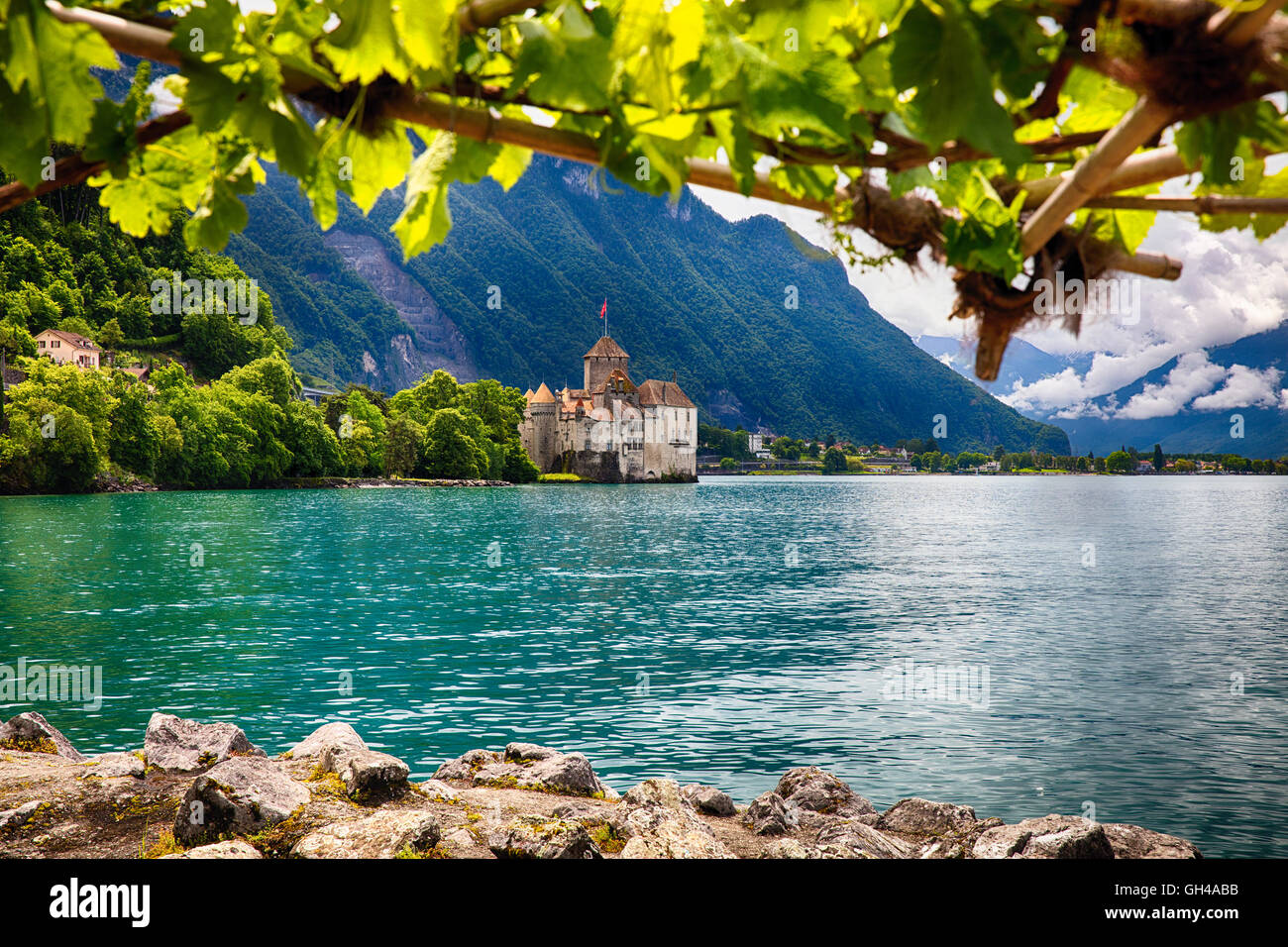 Low Angle View of the Chillon Castle from Under a Trellis, Veytaux, Vaud Canton, Switzerland - Stock Image