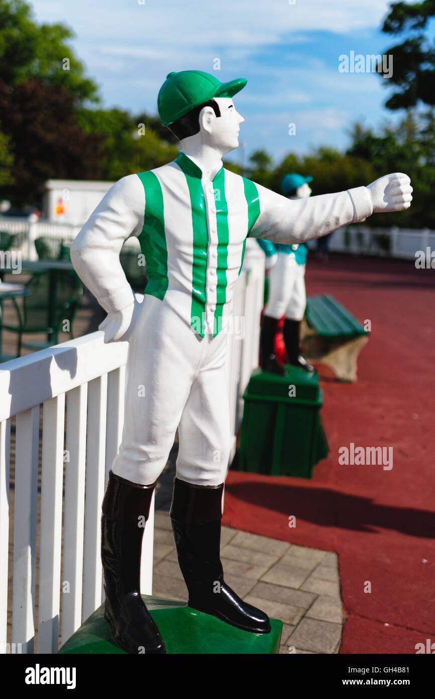 Close Up Profile View of a Jockey Sculpture, Monmouth Park Racetrack, Oceanport, New Jersey - Stock Image