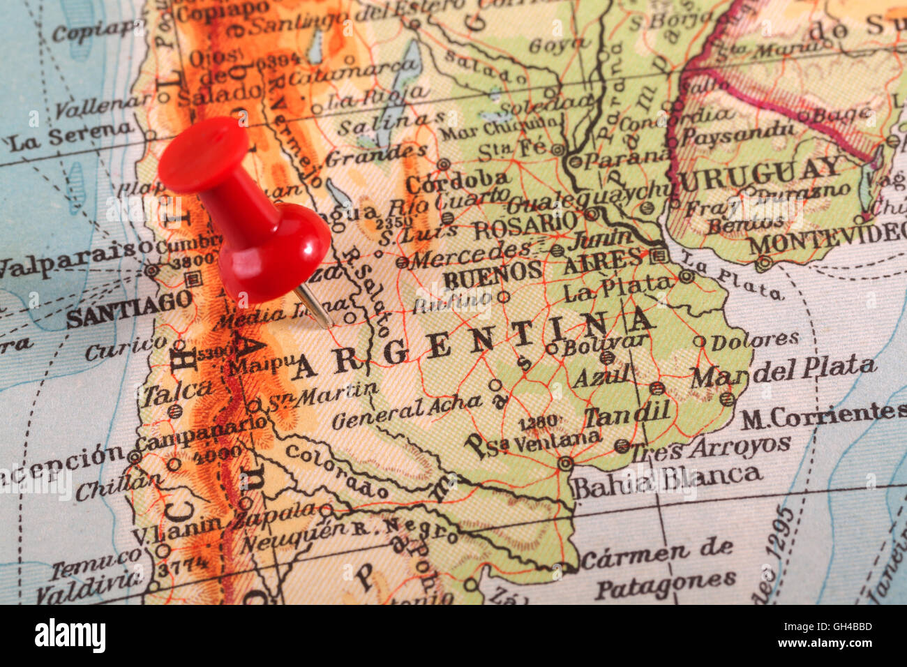 Map pin maps pins stock photos map pin maps pins stock images alamy push pins showing the location of a destination point on a map argentina stock gumiabroncs Image collections