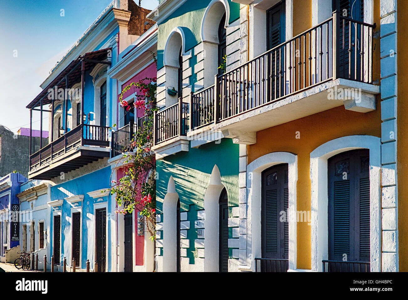 Low Angle View Of Colorful Traditional Spanish Colonial And Moorish Style Houses Old San Juan