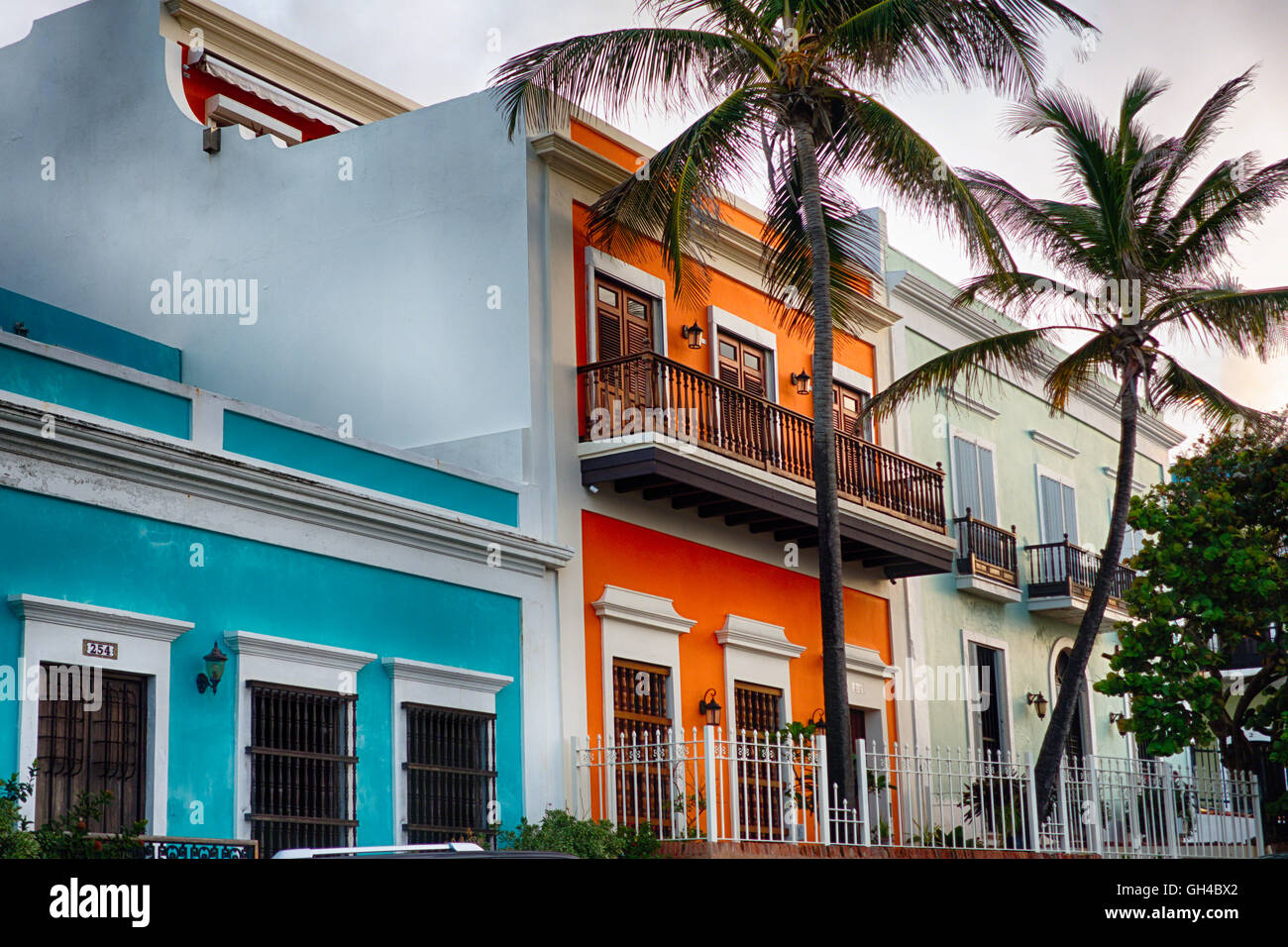 Low Angle View Of Colorful Spanish Colonial Houses Old San Juan