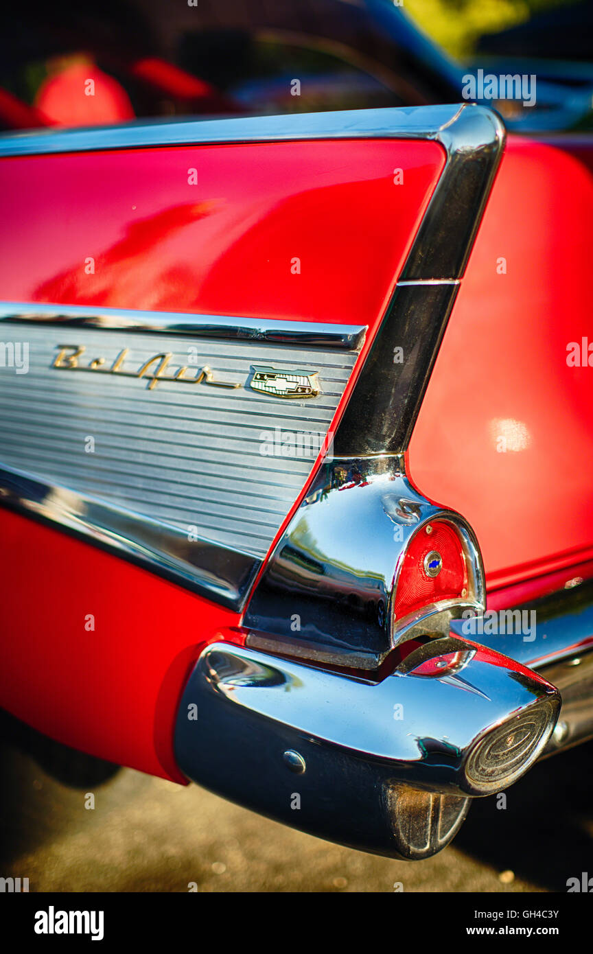 Close Up View of a Tail Fin Back of a Chevrolet Bel Air Classic American Automobile, New Jersey USA Stock Photo