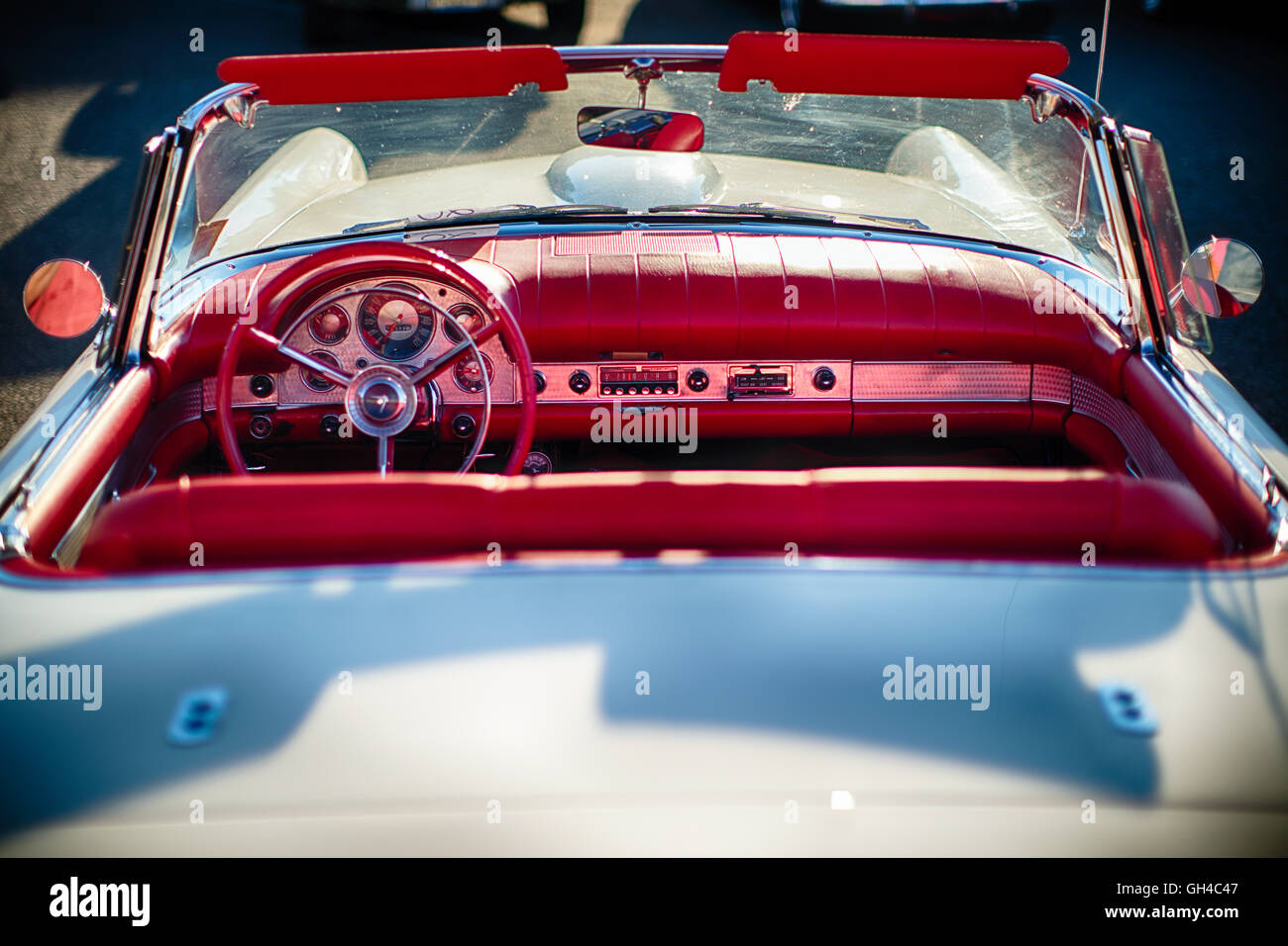 High Angle View of a 1957 Ford Thunderbird Convertible Interior - Stock Image