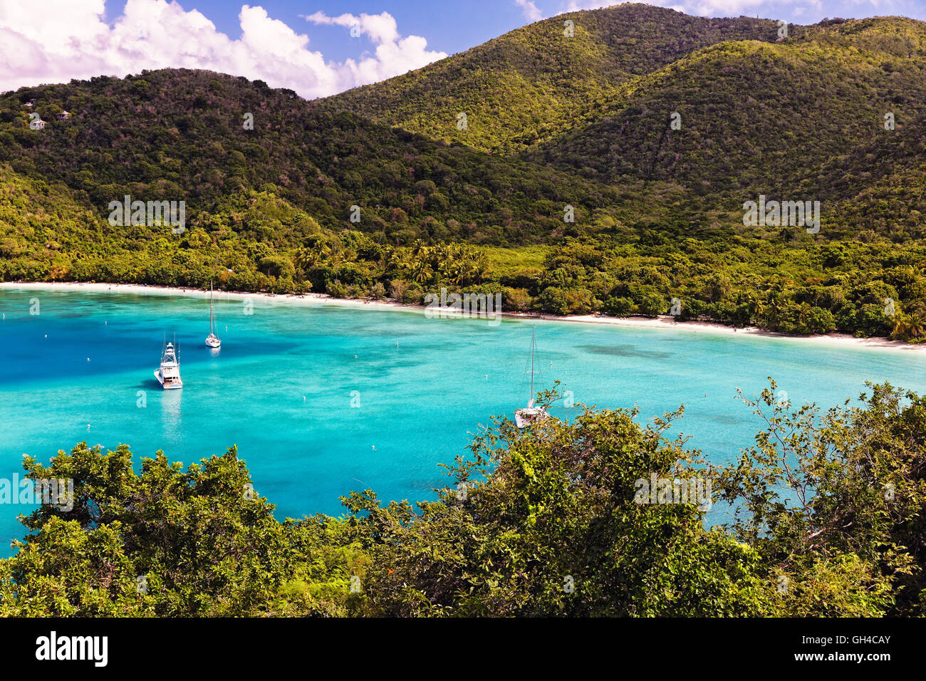 High Angle View of a Tropical Beach with Turqouise Waters, Maho Bay, Virgin Island National Park, St John, USVI Stock Photo
