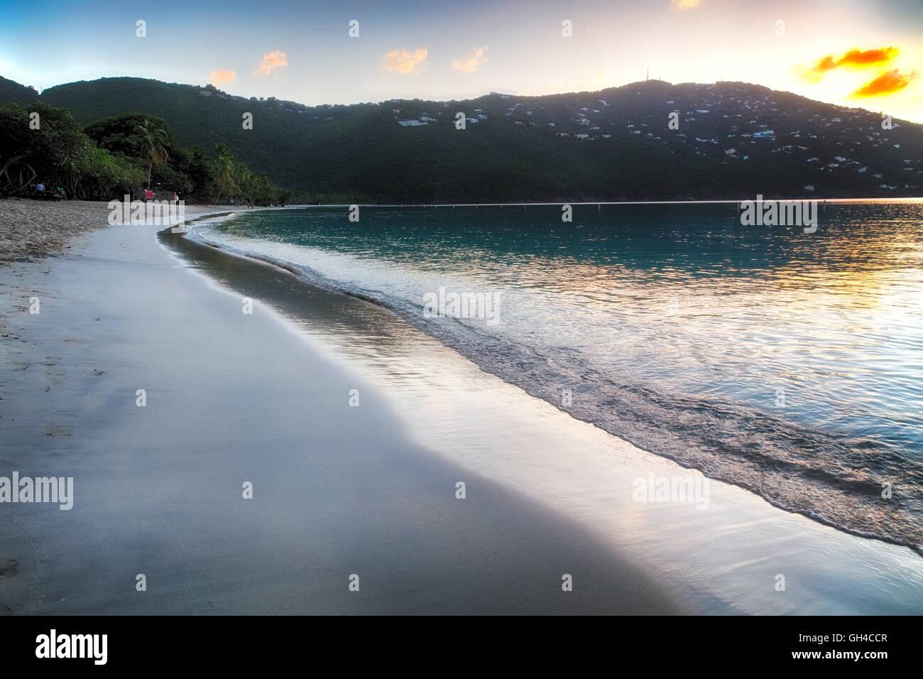 Tranquil Caribbean Beach at Sunset, Magens Bay, St Thomas, US Virgin Islands - Stock Image
