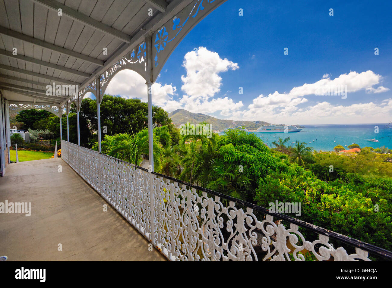 High Angle View from a Balcony of a Harbor with a Cruise Ship, Villa Notman, Charlotte Amalie, St Thomas, US Virgin Stock Photo