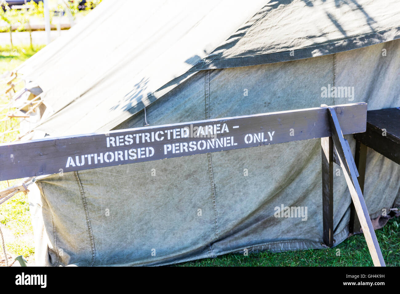 Army restricted area sign authorised personnel only signs warning UK England GB - Stock Image