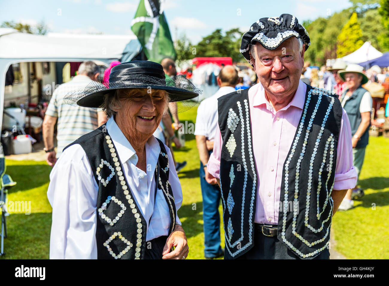 Pearly King & Queen Kings and Queens known as pearlies are an organised charitable tradition of working class culture Stock Photo