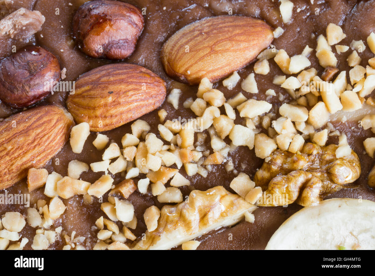 Beautiful background from sweet halva with nut,milk and cacao - Stock Image