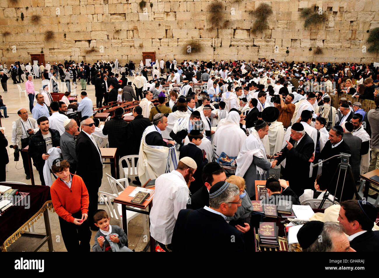 geography / travel, Israel, Jerusalem, believer Jew during prayer at the Wailing Wall, Middle East, East, Additional - Stock Image
